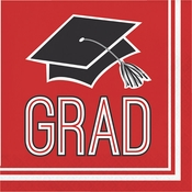 Graduation School Spirit Red Luncheon Napkins