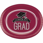 Graduation School Spirit Burgundy Oval Plates