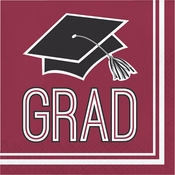 Graduation School Spirit Burgundy Luncheon Napkins