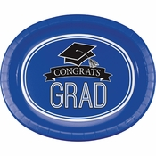 Graduation School Spirit Blue Oval Plates