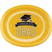 Graduation School Spirit Yellow Oval Plates