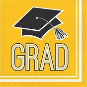 Graduation School Spirit Yellow Luncheon Napkins