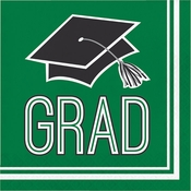 Graduation School Spirit Green Luncheon Napkins