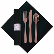"8"" x 8.5"" Pre-rolled Linen-Like Marble CaterWrap Black Napkins with Rose Gold Cutlery 100 ct"