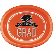 Graduation School Spirit Orange Oval Plates