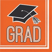 Graduation School Spirit Orange Luncheon Napkins
