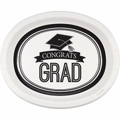 Graduation School Spirit White Oval Plates