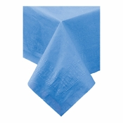 "Marina Blue Cellutex Paper Tablecloths measures 54"" x 108"" constructed of 2 ply tissue, 1 ply poly and sold in quantities of 1 / pkg, 25 pkgs / case"