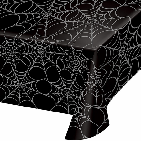 Silver Webs Plastic Tablecloth 12 ct