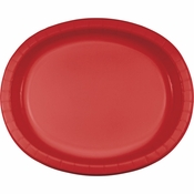 Classic Red Oval Platters sold in quantities of 8 / pkg, 12 pkgs / case.