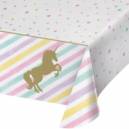 Sparkle Unicorn Plastic Tablecloths 6 ct