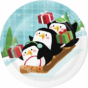 Santa and Penguins Dessert Plates 96 ct