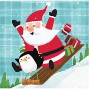 Santa and Penguins Beverage Napkins 192 ct