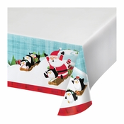 Santa and Penguins Plastic Tablecloths 12 ct