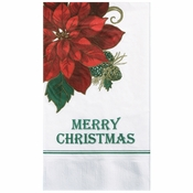 "7.5"" x 4.25"" Traditional Poinsettia Dinner Napkins 1000 ct"