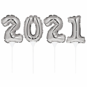 2021 Silver Balloon Cake Toppers 48 ct