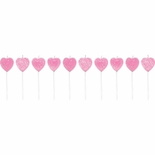 Heart Shaped Pink Candles 120 ct