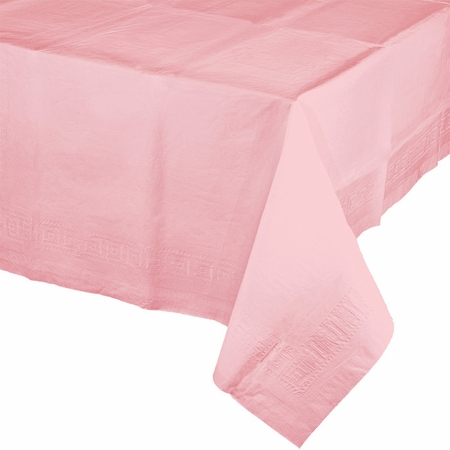 Touch of Color Classic Pink Paper Tablecloths in quantities of 1 / pkg, 6 pkgs / case
