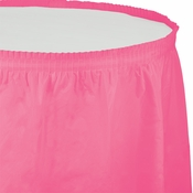Touch of Color Candy Pink Plastic Tableskirt in quantities of 1 / pkg, 6 pkgs / case