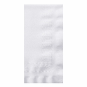 "Linen-Like Greek Key Embossed White Dinner Napkins 17"" x 17"" 1/8 Fold in quantities of 75 / pkg, 4 pkgs / case"