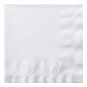"Linen-Like Greek Key Embossed White Dinner Napkins 17"" x 17"" 1/4 Fold in quantities of 75 / pkg, 4 / case"