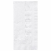 Greek Key Embossed White Dinner Napkins 1/8 fold in quantities of 100 / pkg, 6 pkgs / case