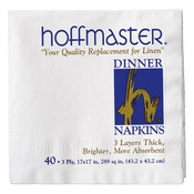 White Dinner Napkins Retail Pack in quantities of 40 / pkg, 24 pkgs / case