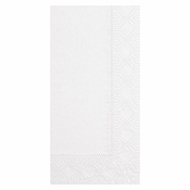 "Embossed White Dinner Napkins 17"" x 17"" 1/8 Fold in quantities of 100 / pkg, 20 pkgs / case"