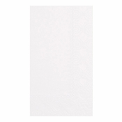"Embossed White Dinner Napkins 15"" x 17"" 1/8 Fold in quantities of 125 / pkg, 24 pkgs / case"