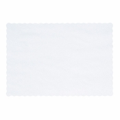 "White paper placemat with pretty scalloped edges on Homespun Scalloped 8"" x 12"" Placemat in quantities of 1,000 / case. Flat pack."