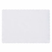 "White Scalloped 9.5"" x 13.5"" Placemat in quantities of 1,000 / case"