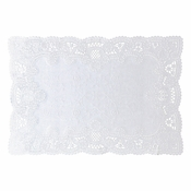 "10"" x 14"" Normandy Embossed Lace Scallop White Paper Placemats 1,000 ct"