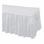 White Hoffmaster Plastic Tableskirt is sold in quantities of 1 / pkg, 6 pkgs / case
