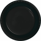 Touch of Color Black Velvet Plastic Banquet Plates in quantities of 20 / pkg, 12 pkgs / case