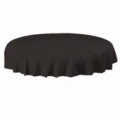 "Black Plastic Octy-Round Tablecloths measures 82"" diameter sold in quantities of 1 / pkg, 12 pkgs / case"
