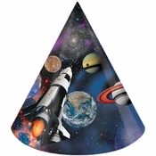Black and blue Space Blast Party Hats are sold in quantities of 8 / pkg, 6 pkgs / case