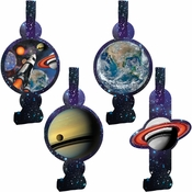 Black and blue Space Blast Blowouts are sold in quantities of 8 / pkg, 6 pkgs / case