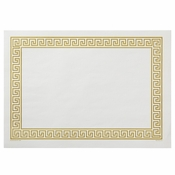 "White and Gold 10"" x 14"" Greek Key Placemat with a border in a gold print in quantities of 1,000 / case. Flat pack."