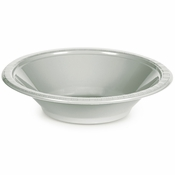 Touch of Color Shimmering Silver 12 oz Plastic Bowls in quantities of 20 / pkg, 12 pkgs / case