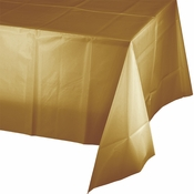 Touch of Color Glittering Gold Plastic Tablecloths in quantities of 1 / pkg, 12 pkgs / case