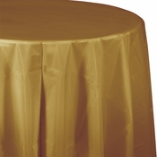 Touch of Color Glittering Gold Octy-Round Plastic Tablecloths in quantities of 1 / pkg, 12 pkgs / case
