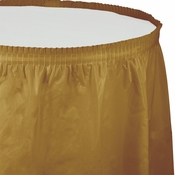 Touch of Color Glittering Gold Plastic Tableskirt in quantities of 1 / pkg, 6 pkgs / case