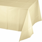Touch of Color Ivory Plastic Tablecloths in quantities of 1 / pkg, 12 pkgs / case
