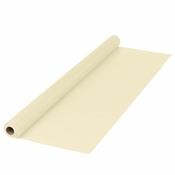 "Ivory Plastic Banquet Table Roll measures 40"" x 100 sold in quantities of 1 / pkg, 1 pkg / case"