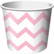 Pink Chevron Ice Cream Treat Cups sold in quantities of 6 / pkg, 12 pkgs / case