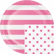 Candy Pink Polka Dots and Stripes Party Supplies