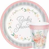 Country Floral Baby Shower Party Supplies