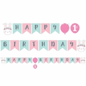 Bunny Party Happy Birthday Banners with Stickers 6 ct