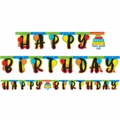 Rainbow Cake Party Banners 12 ct