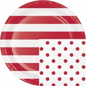 Red Polka Dots and Stripes Party Supplies